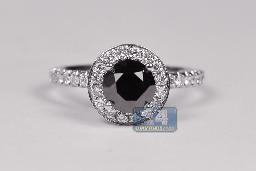 18K White Gold 2 13 ct Round Black Diamond Womens Engagement Ring