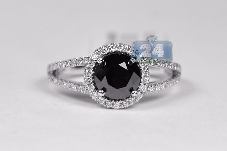 18k white gold ct black diamond womens engagement ring for Black diamond wedding rings for women