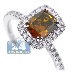 18K White Gold 1.67 ct Cushion Brown Diamond Womens Engagement Ring