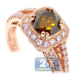 14K Rose Gold 1.65 ct Brown Diamond Womens Engagement Ring