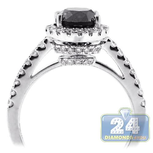 18K White Gold 2 14 ct Black Diamond Womens Engagement Ring