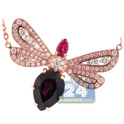 18K Rose Gold 2.16 ct Diamond Gemstone Womens Butterfly Pendant
