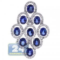 18K White Gold 4.50 ct Diamond Blue Sapphire Womens Pendant
