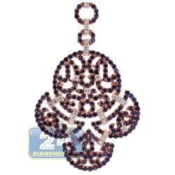 18K Rose Gold 3.54 ct Diamond Sapphire Womens Chandelier Pendant