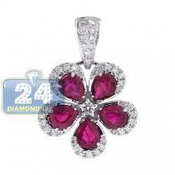 14K White Gold 2.33 ct Diamond Ruby Womens Flower Pendant