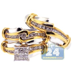 14K Two Tone Gold 0.82 ct Diamond Wedding Set of 3 Rings