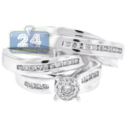 14K White Gold 0.64 ct Diamond Bridal 3 Rings Set