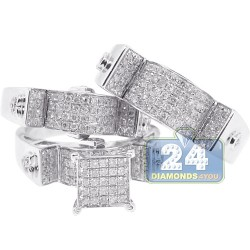 14K White Gold 1.33 ct Diamond Pave Bridal 3-Ring Set