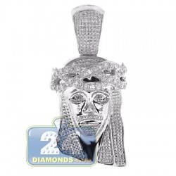 14K White Gold 0.23 ct Diamond Jesus Christ Head Mens Pendant