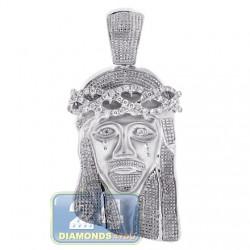 10K White Gold 0.60 ct Diamond Jesus Christ Head Mens Pendant