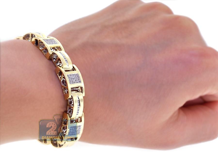14k yellow gold ct diamond mens slim bracelet inches. Black Bedroom Furniture Sets. Home Design Ideas