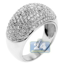 14K White Gold 2.01 ct Pave Diamond Womens Dome Ring