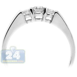 14K White Gold 0.42 ct Three Diamond Womens Engagement Ring
