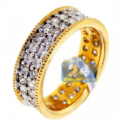 14K Yellow Gold 2.12 ct 2-Row Diamond Womens Eternity Ring