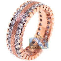 Matte 14K Rose Gold 1.83 ct Diamond Womens Eternity Ring