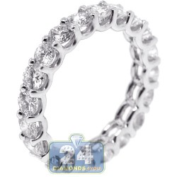 14K White Gold 3.15 ct Round Diamond Womens Eternity Ring