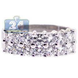 14K White Gold 2.02 ct 2-Row Diamond Womens Wedding Ring