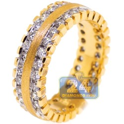 Matte 14K Yellow Gold 1.84 ct Diamond Womens Eternity Ring