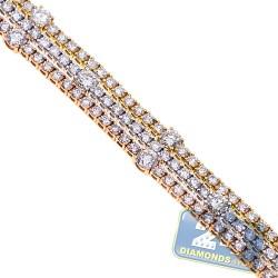 18K 3-Tone Gold 11.91 ct Diamond Womens Tennis Bracelet 7 1/2 Inches