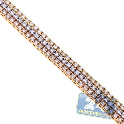 18K 3-Tone Gold 6.68 ct Diamond Womens Tennis Bracelet 7 1/2 Inches