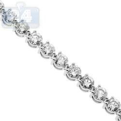 18K White Gold 5.29 ct Diamond Womens Tennis Bracelet 7 1/4 Inches