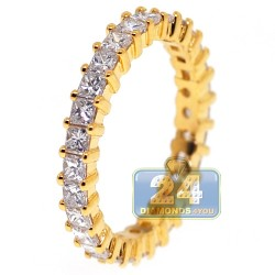 14K Yellow Gold 2.11 ct Princess Diamond Womens Eternity Ring