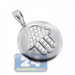 14K White Gold 0.64 ct Diamond Hamsa Medallion Pendant