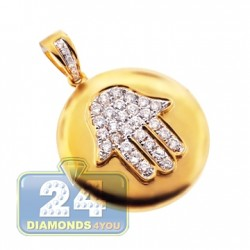 14K Yellow Gold 0.64 ct Diamond Hamsa Medallion Pendant