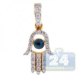 14K Yellow Gold 0.23 ct Diamond Evil Eye Hamsa Pendant