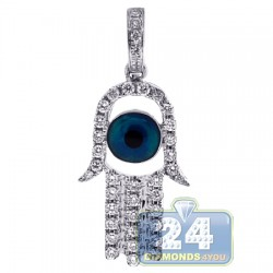 14K White Gold 0.50 ct Diamond Evil Eye Hamsa Pendant