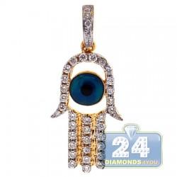 14K Yellow Gold 0.50 ct Diamond Evil Eye Hamsa Pendant