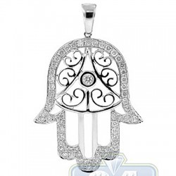 14K White Gold 1.44 ct Diamond Hamsa Jewish Pendant
