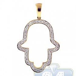 14K Yellow Gold 0.85 ct Diamond Hamsa Jewish Pendant