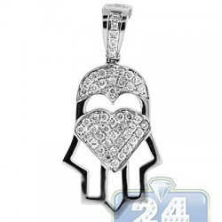14K White Gold 0.42 ct Diamond Hamsa Jewish Pendant