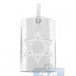 14K White Gold 0.66 ct Diamond Star of David Tag Pendant