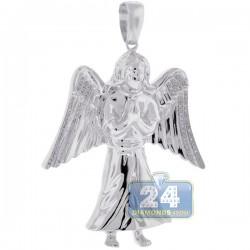 10K White Gold 0.27 ct Diamond Jesus Christ Wings Pendant