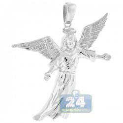 10K White Gold 0.31 ct Diamond Flying Jesus Christ Pendant