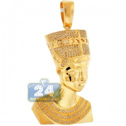 10K Yellow Gold 0.53 ct Diamond Pharaoh Half Face Pendant