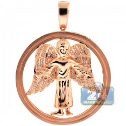 10K Rose Gold 0.37 ct Diamond Jesus Christ Circle Pendant