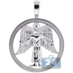 10K White Gold 0.37 ct Diamond Jesus Christ Circle Pendant