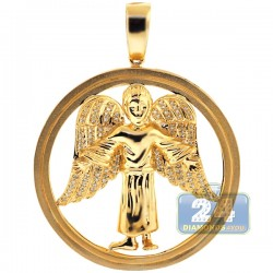 10K Yellow Gold 0.37 ct Diamond Jesus Christ Circle Pendant
