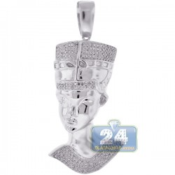 10K White Gold 0.57 ct Diamond Pharaoh Head Pendant