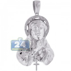 10K White Gold 0.33 ct Diamond Virgin Mary Cross Pendant