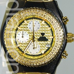 Aqua Master Sport 1.00 ct Diamond Mens Gold Steel Watch