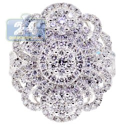 18K White Gold 2.48 ct Diamond Womens Cluster Flower Ring