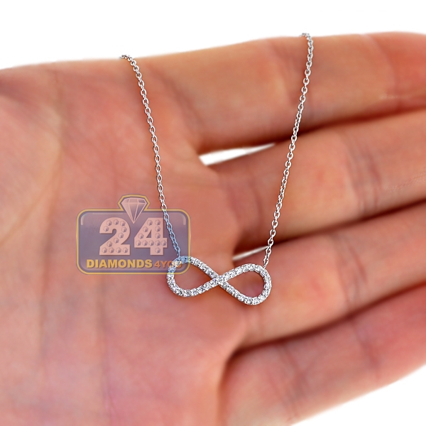 18k white gold ct diamond womens infinity necklace 18. Black Bedroom Furniture Sets. Home Design Ideas