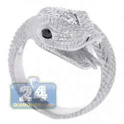 18K White Gold 0.40 ct Diamond Womens Snake Head Ring