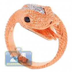 18K Rose Gold 0.40 ct Diamond Womens Snake Head Ring