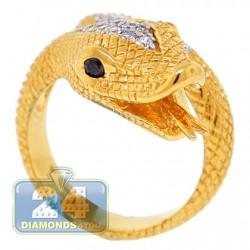 18K Yellow Gold 0.40 ct Diamond Womens Snake Head Ring