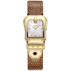 Fendi B.Fendi Yellow Gold Brown Leather Watch F382424522D1